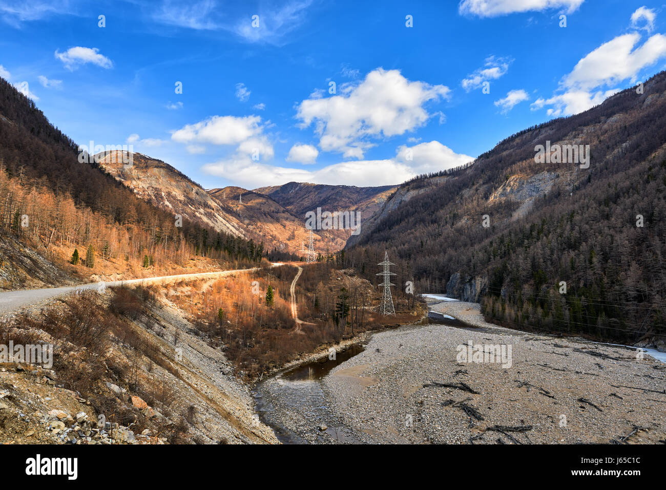 Only automobile road connecting Okinsky District of Buryatia with World. East Sayans. Russia - Stock Image