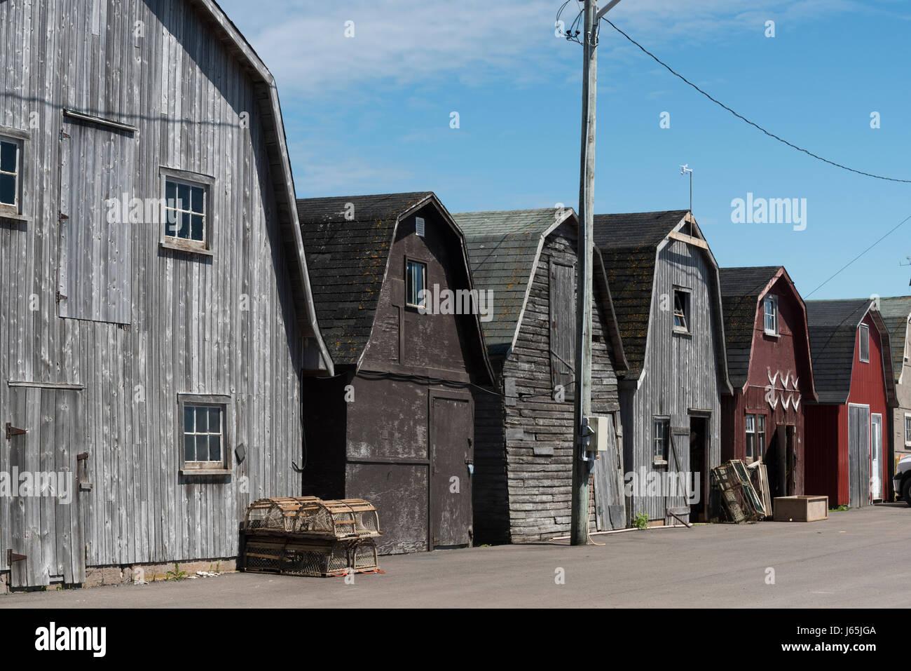 Fishing sheds at harbor, Lot 18, Prince County, Prince Edward Island, Canada - Stock Image
