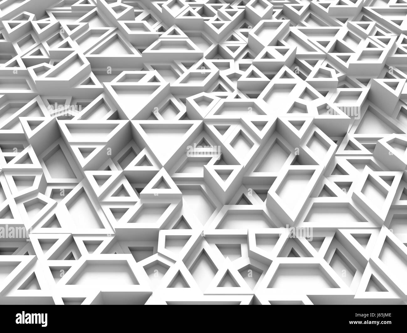 equilateral triangles - white abstract background with shadows - 3d rendering - Stock Image
