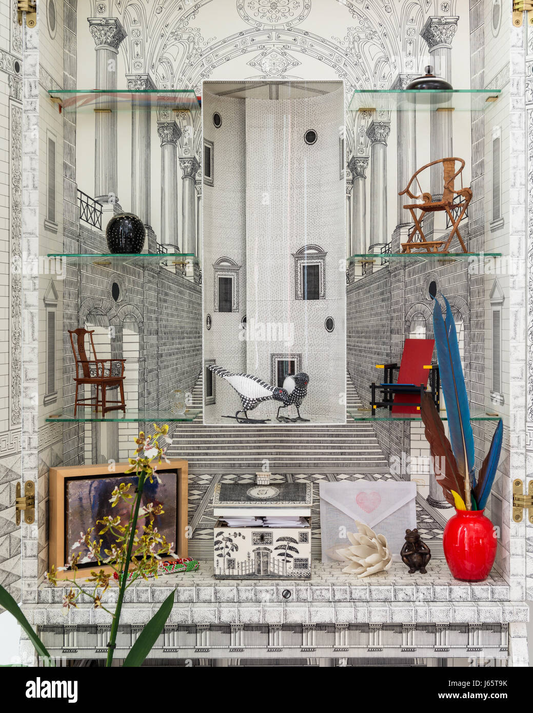 Fornasetti writing bureau, detail with glass shelves - Stock Image