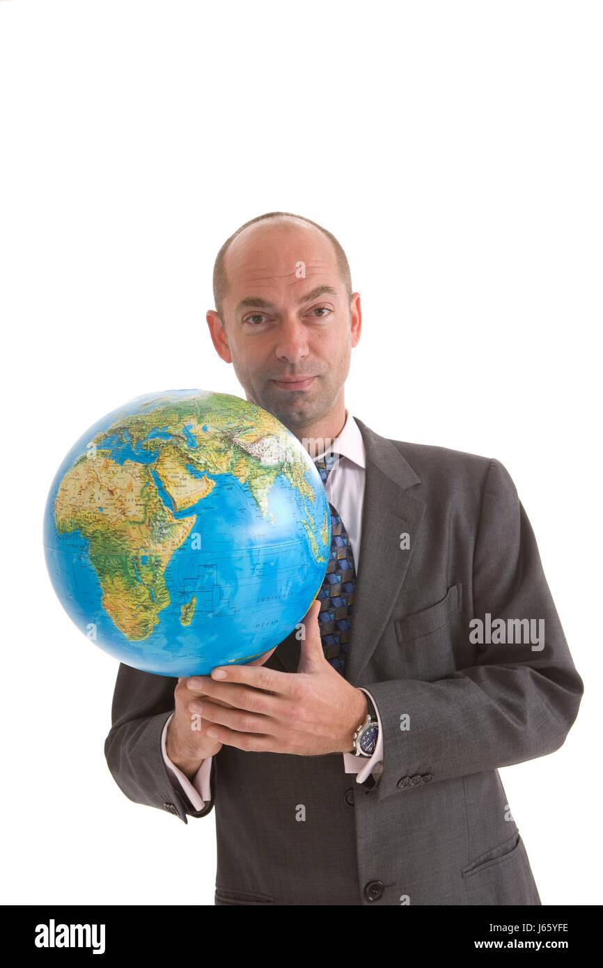 business man businessman necktie globalization globe planet earth world suit - Stock Image