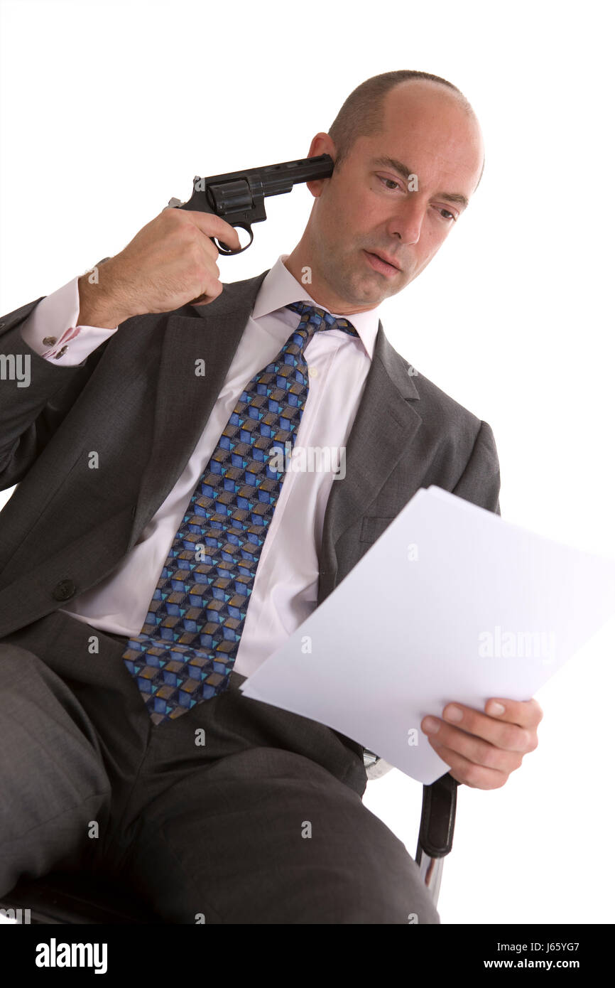 contract way out pistol arm weapon suicide to shoot dead earnest contract - Stock Image