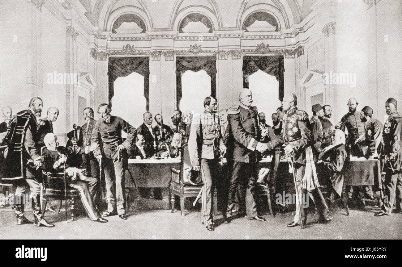 The Berlin Congress, 1878. A meeting, presided by Otto von Bismarck,  aimed at determining the territories of the - Stock Image