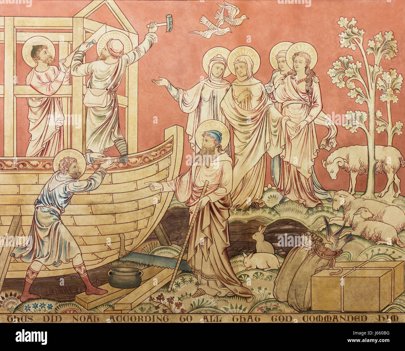 A Clayton and Bell wall painting depicting Noah supervising the construction of the Ark, Garton on the Wolds, Yorkshire, - Stock Image