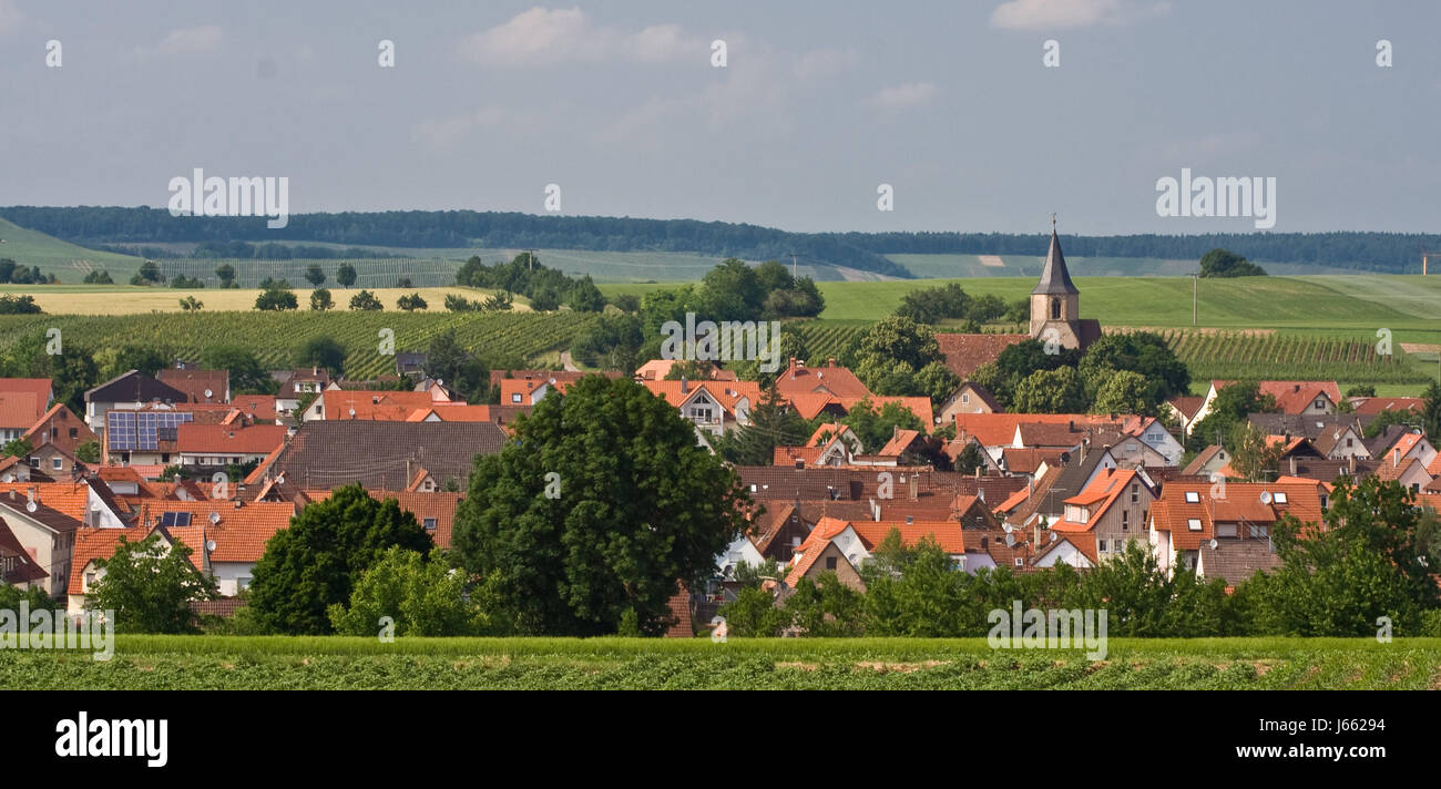 church tourism agriculture farming acre land realty ground community village Stock Photo