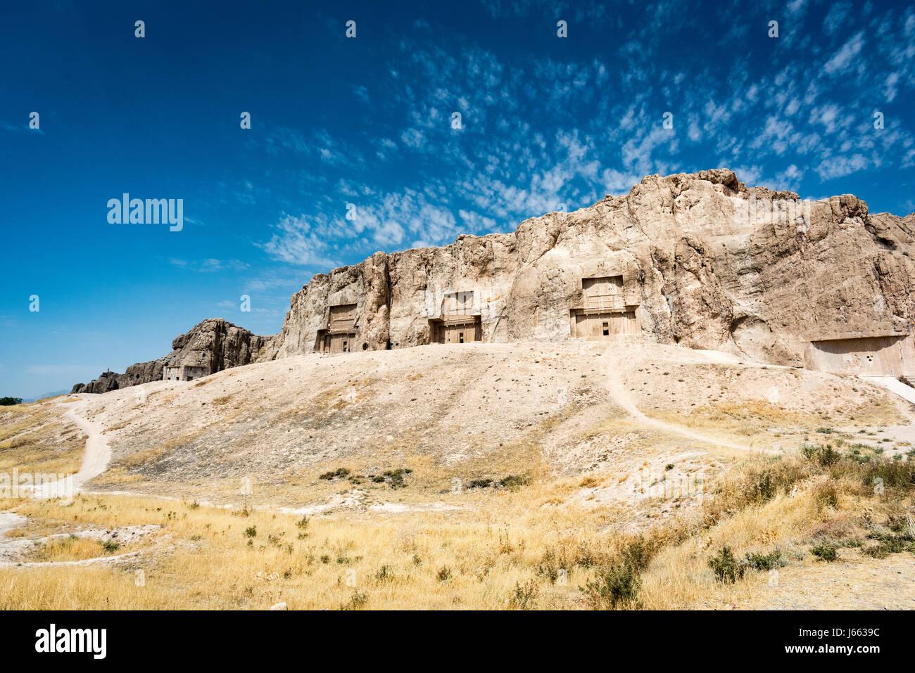 Stone tombs of the Persian Kings at Necropolis, Shiraz, Iran - Stock Image