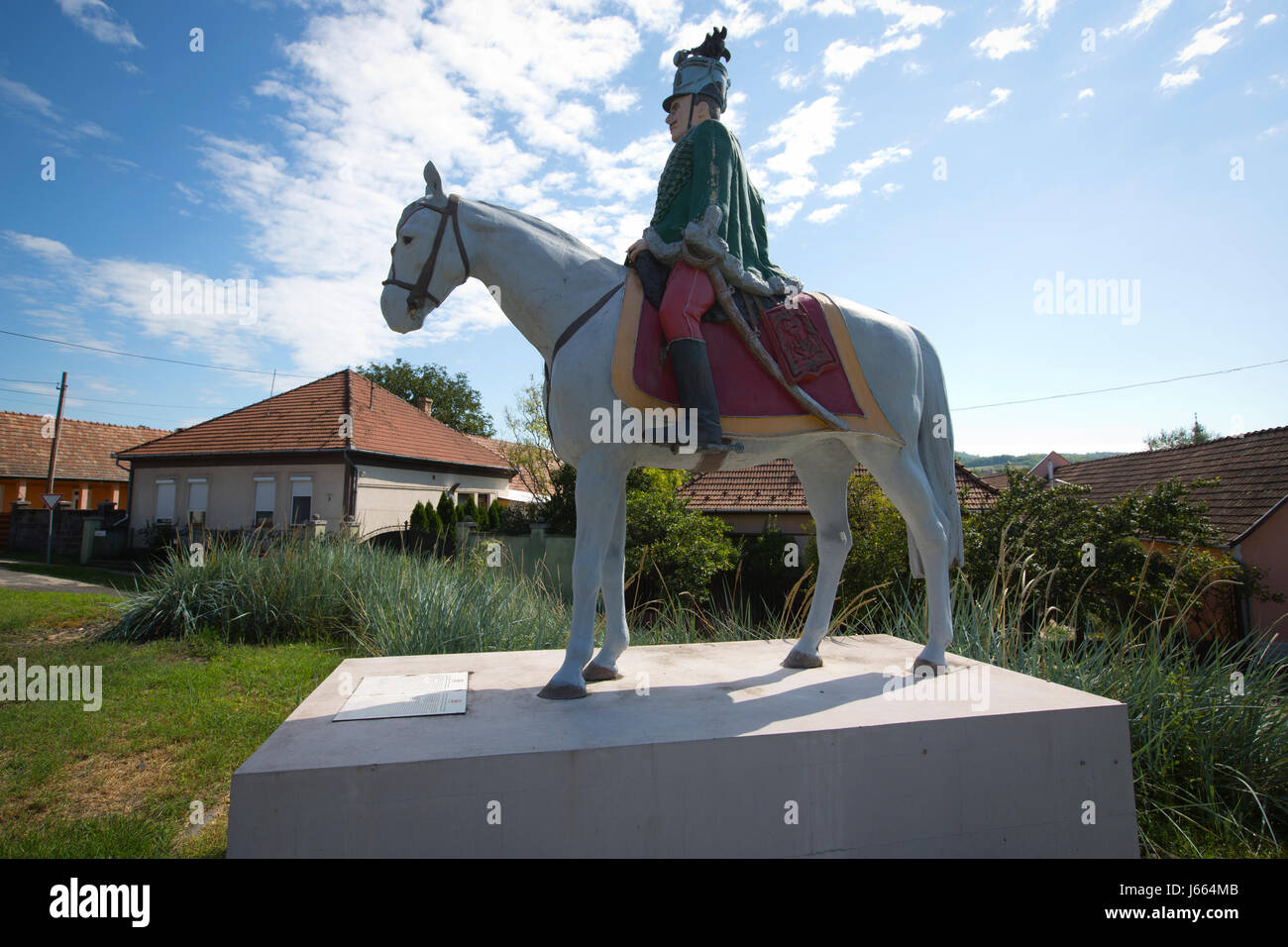 Statue of a Soldier of the 4th Hussar Regiment, Magyar huszár szobra (Statue of a Hungarian Hussar), Hungary, - Stock Image
