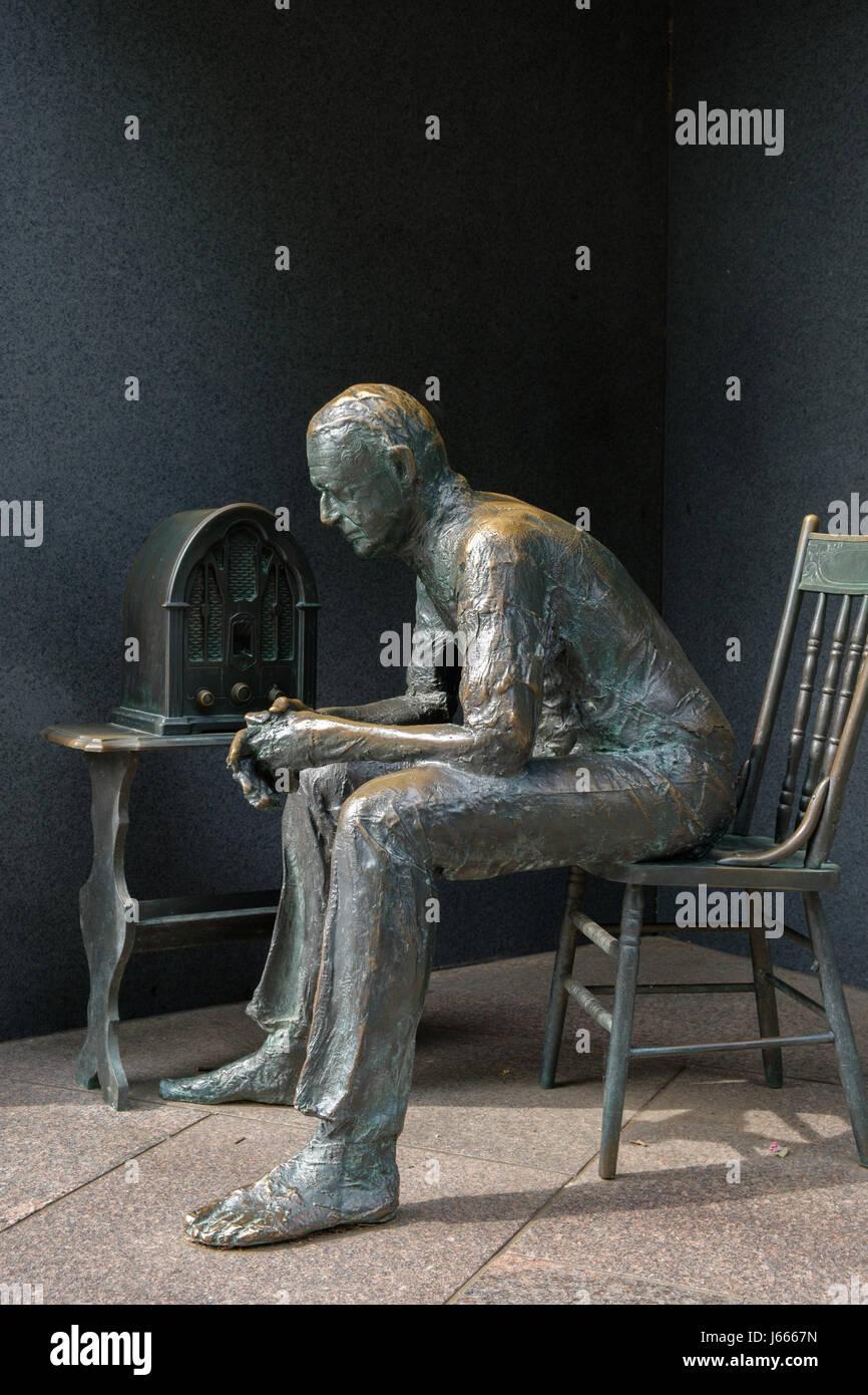 Fireside Chat, FDR Memorial, Washington, DC - Stock Image