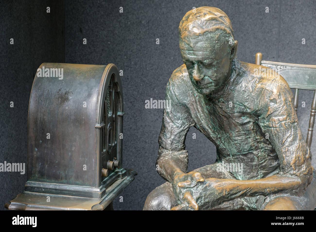 Fireside Chat Closeup, FDR Memorial, Washington, DC - Stock Image