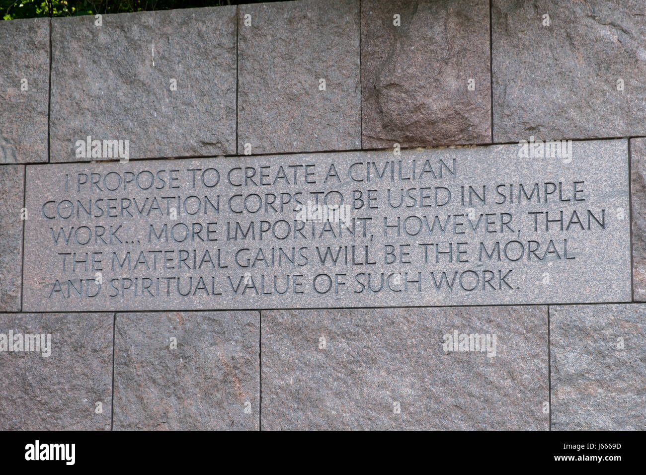 Conservation Corps Quote, FDR Memorial, Washington, DC Stock ...