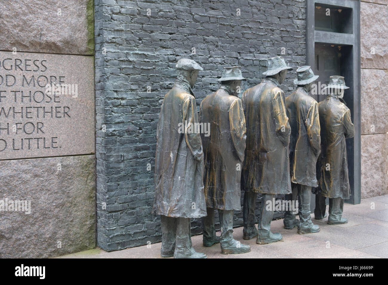 Back View of Great Depression Breadline, FDR Memorial, Washington, DC - Stock Image