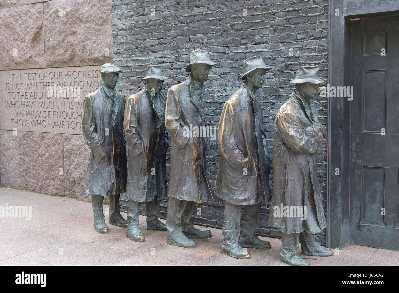 Great Depression Breadline with Quote, FDR Memorial, Washington, DC - Stock Image