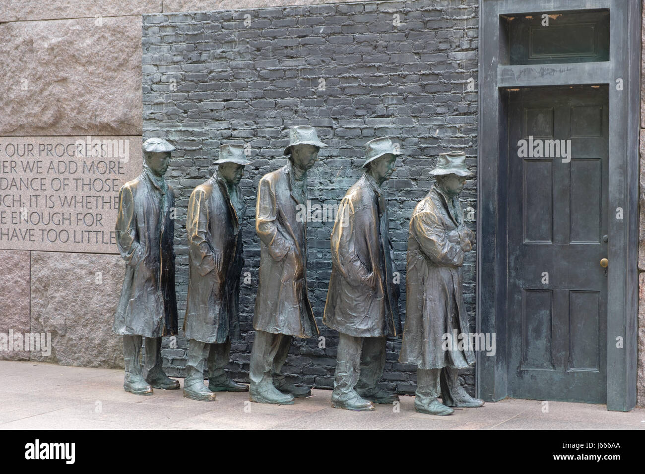 Great Depression Breadline with Door, FDR Memorial, Washington, DC - Stock Image