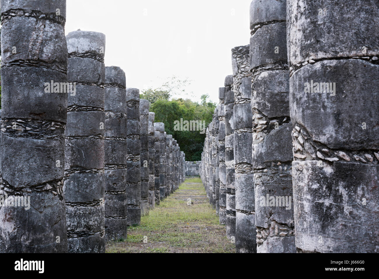 Columns in the Temple of a Thousand Warriors in Chichen Itza ruins, Maya civilization, Mexico - Stock Image