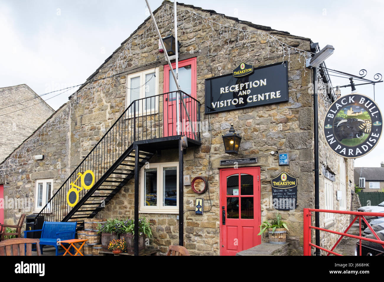 Black Bull in Paradise Theakston Brewery Reception and Visitor Centre. Masham, Wensleydale, North Yorkshire, England, - Stock Image