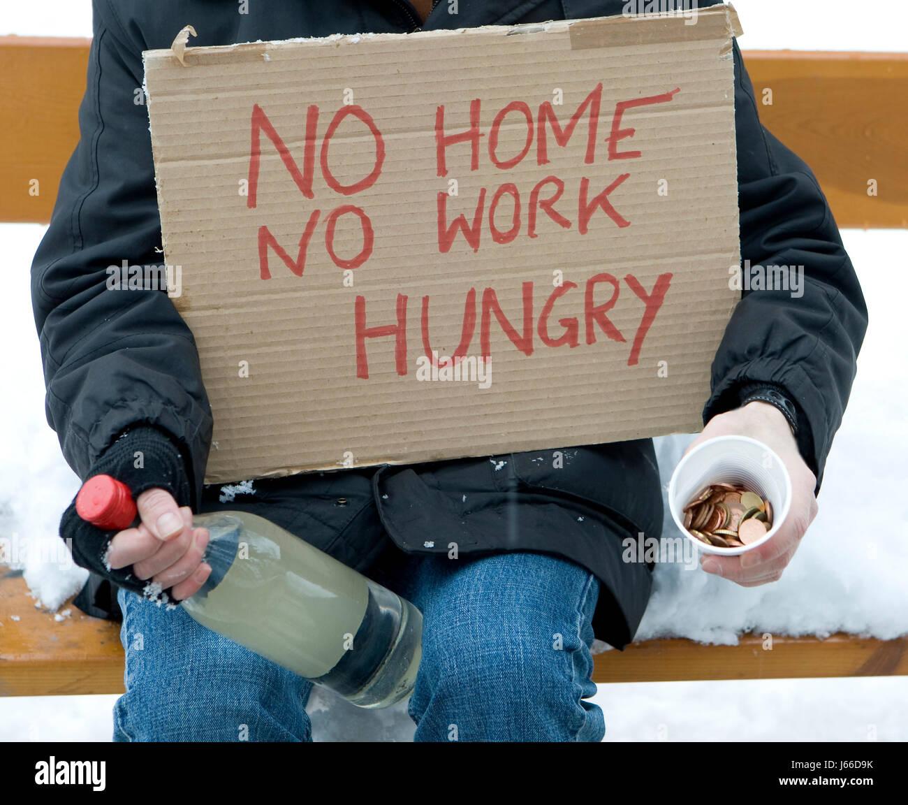 unsheltered hungry poor miserable indigent impoverished unpropertied needy - Stock Image