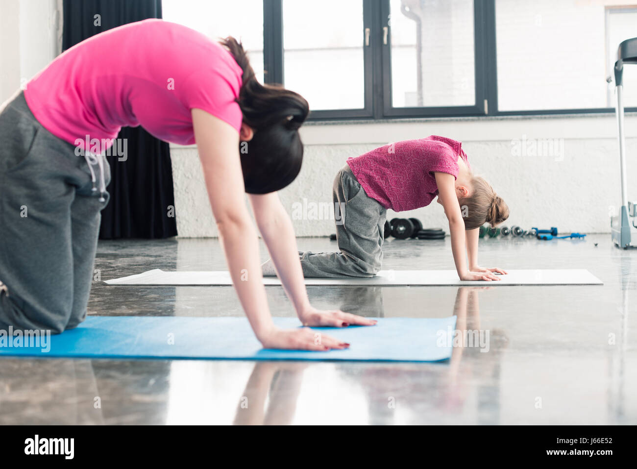 mother and daughter in pink shirts practicing yoga in Cat pose in gym - Stock Image