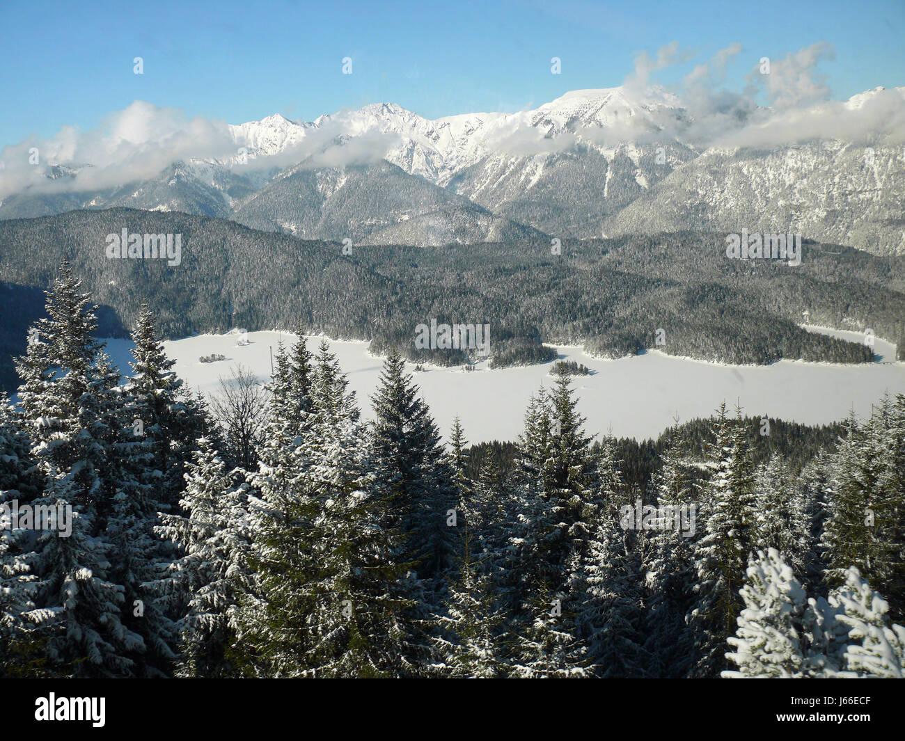 frozen maximum germany german federal republic high pressure area mountain blue - Stock Image