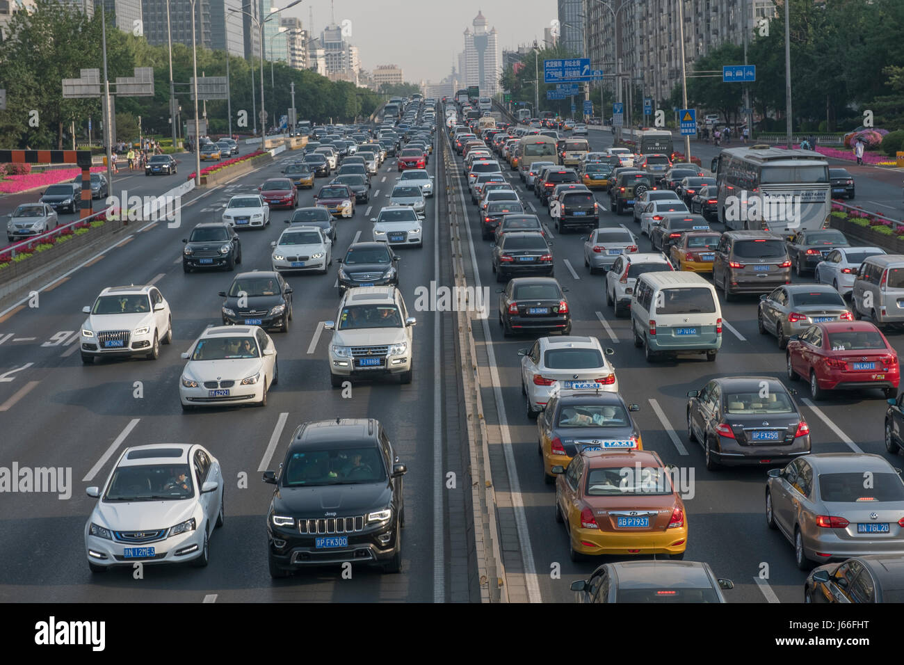 Heavy-traffic road in Beijing West No.2 Ring. - Stock Image