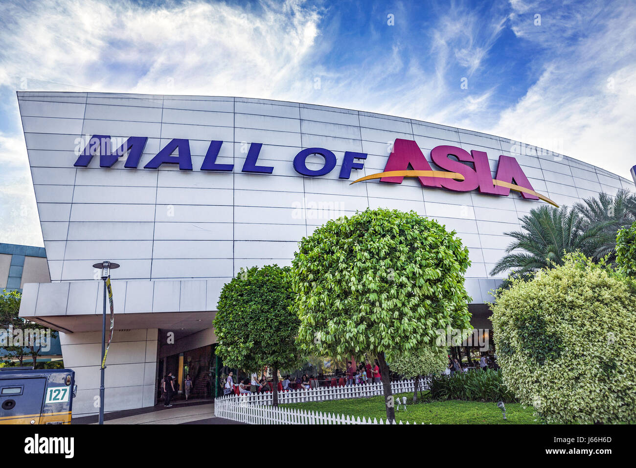 Facade of the SM Mall of Asia, SM MOA, 4th largest shopping mall in the Philippines in Bay City, Pasay, Luzon Island, - Stock Image