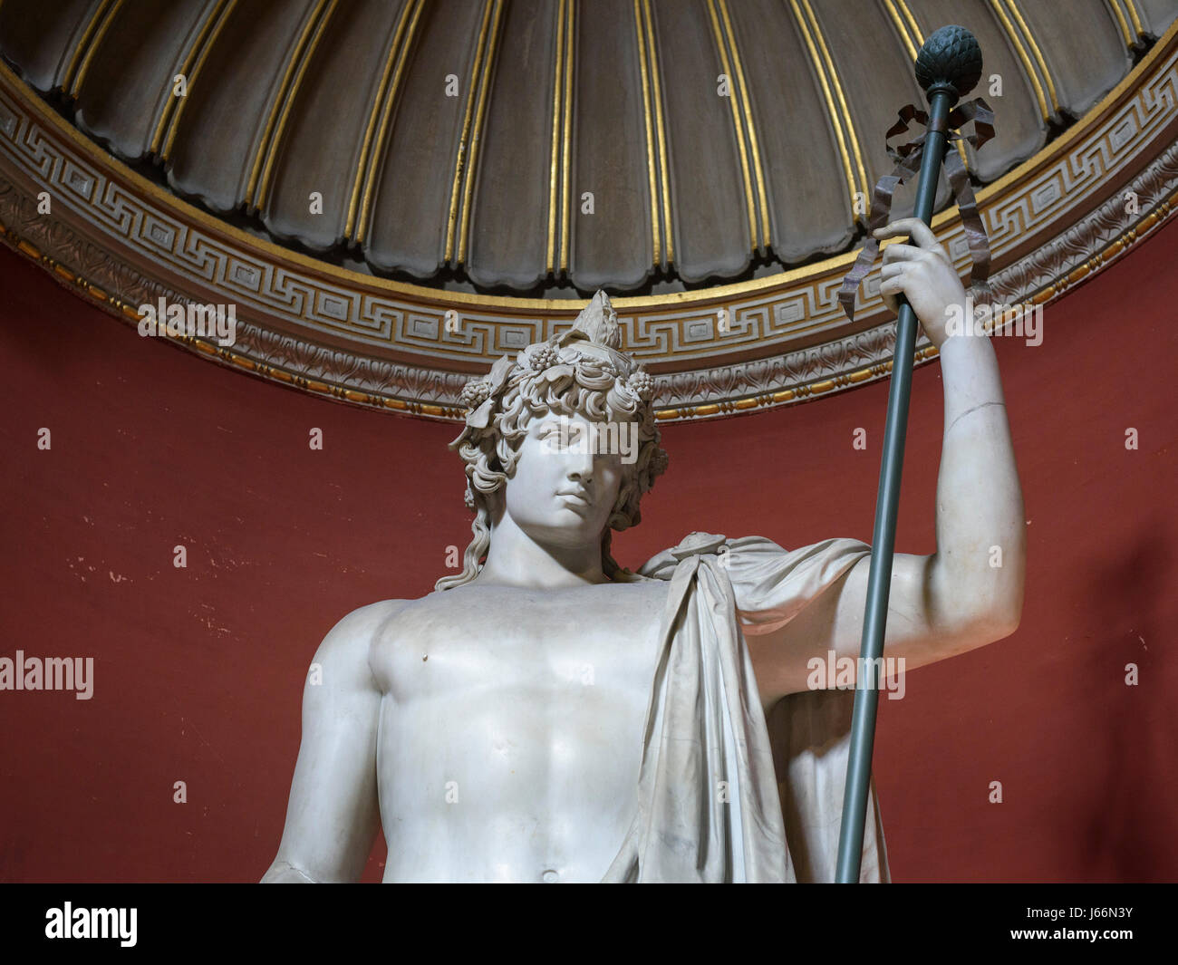 Rome. Italy. The Braschi Antinous statue, the Round Hall, Pio Clementino Museum, Vatican Museums. Musei Vaticani. - Stock Image