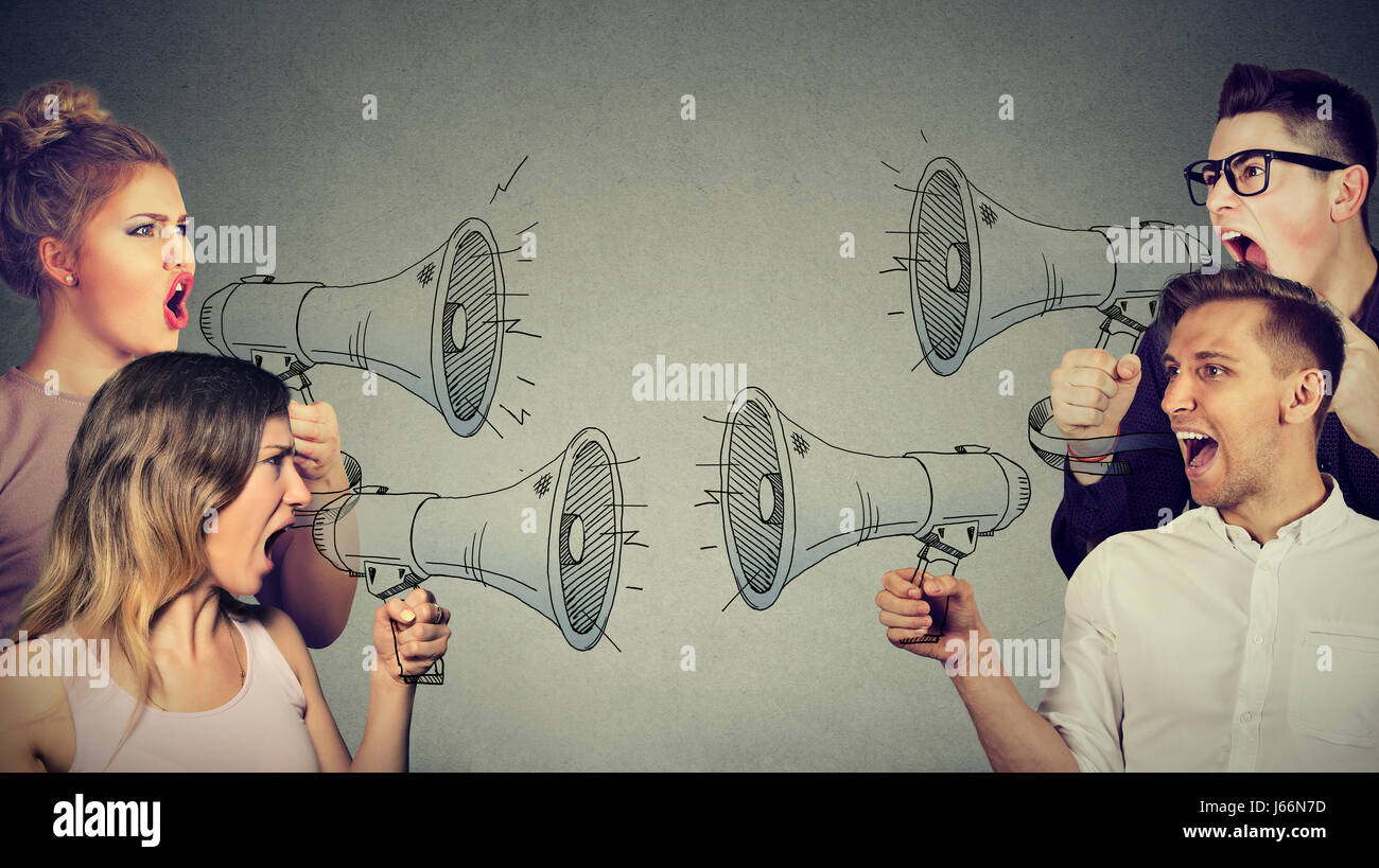 Quarrel between women and men - Stock Image