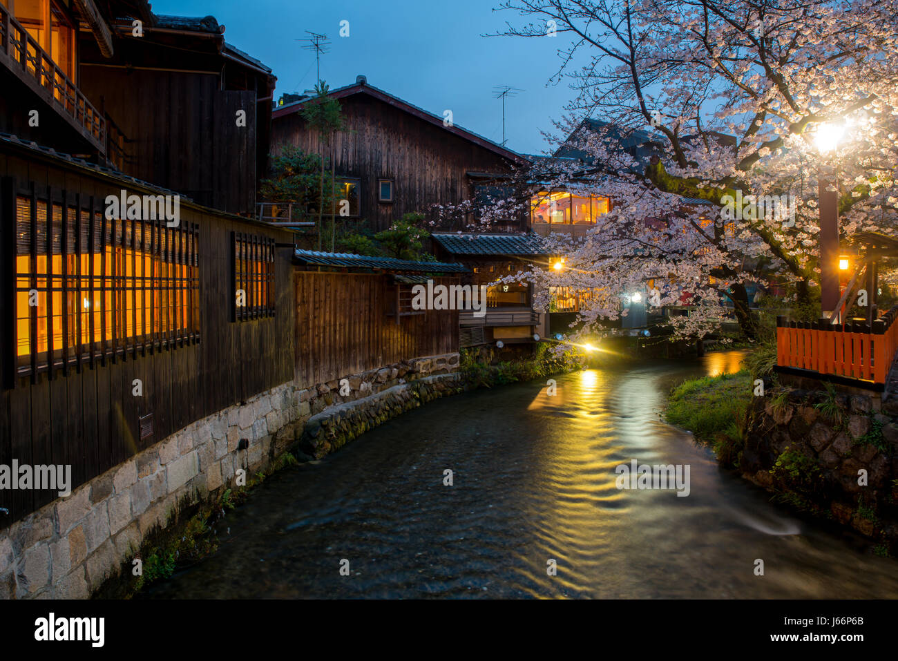 Kyoto, Japan at the Shirakawa River in the Gion District during the spring. Cherry blosson season in Kyoto, Japan. - Stock Image
