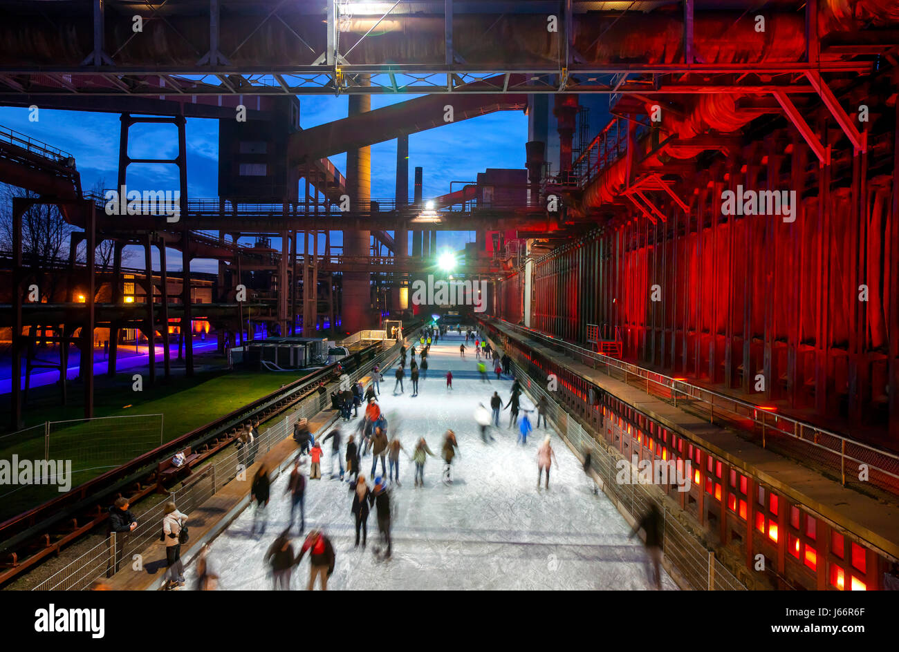 Ice-skating rink, ice-rink, cooking plant Zollverein, Zollverein Coal Mine Industrial Complex, UNESCO world cultural - Stock Image