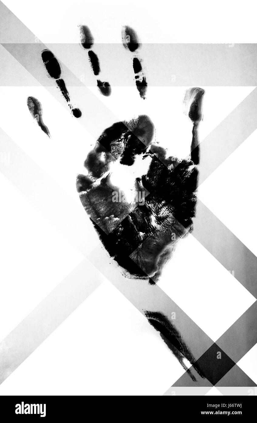 Black and white print of a human hand using black watercolour paints, that has been modified using darker angular - Stock Image