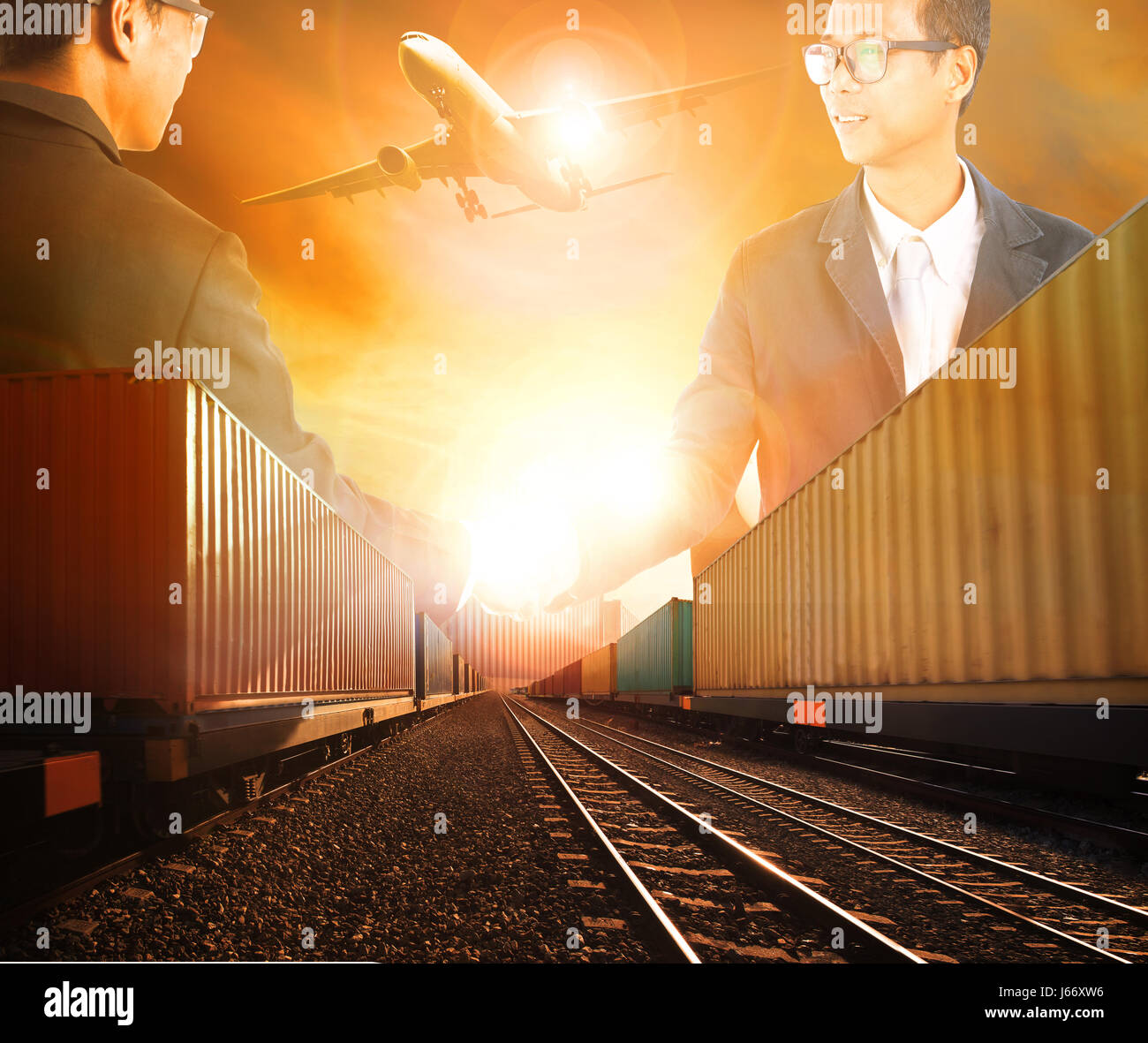 two business man successful shaking hand with railway logistic and air freight cargo transportation theme - Stock Image
