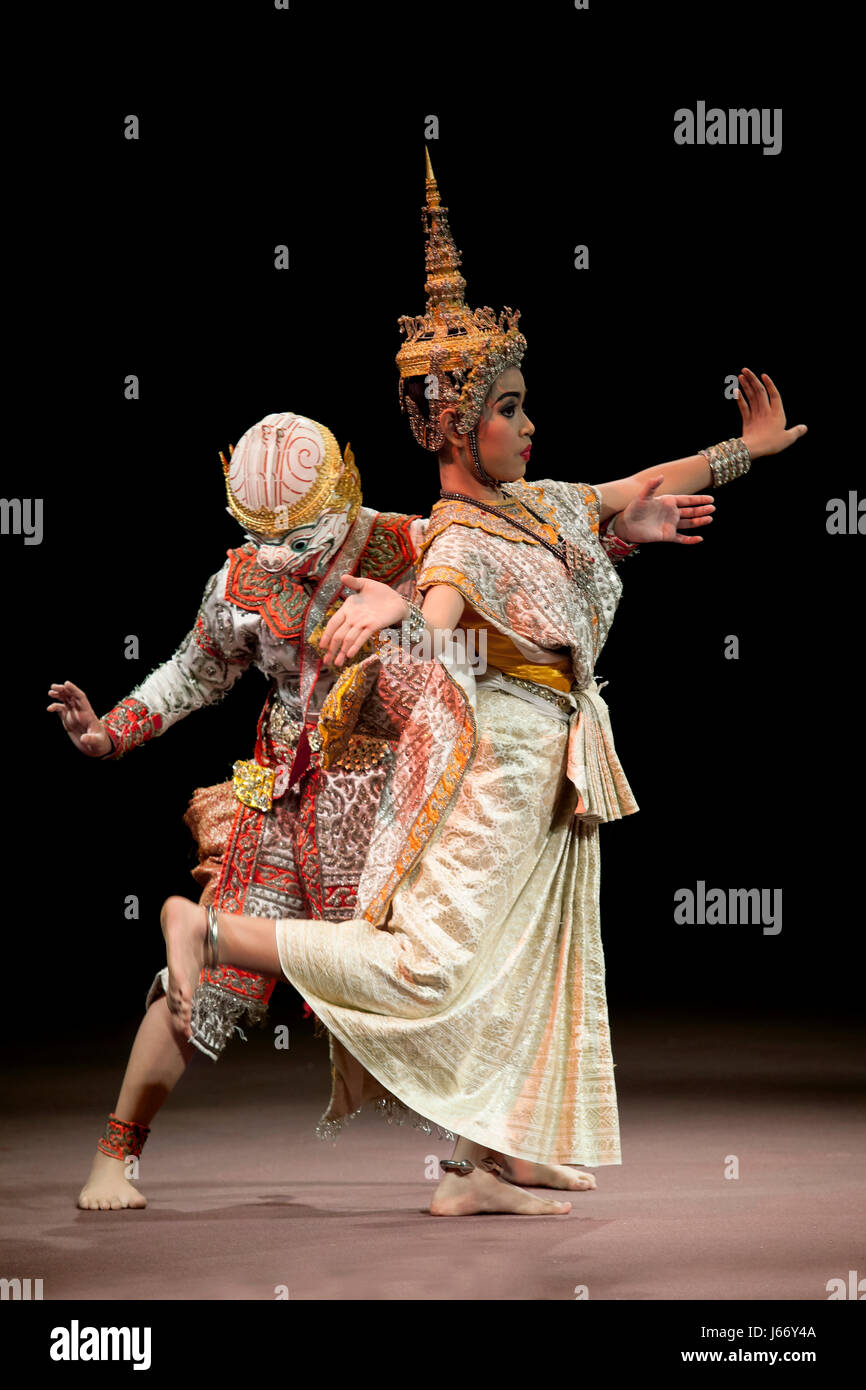 BANGKOK THAILAND - AUGUST 7 : Hanuman and lady fish Suphanmucha courtship scene in Khon playing one theme of great thai lliterature Ramayana  on augus Stock Photo