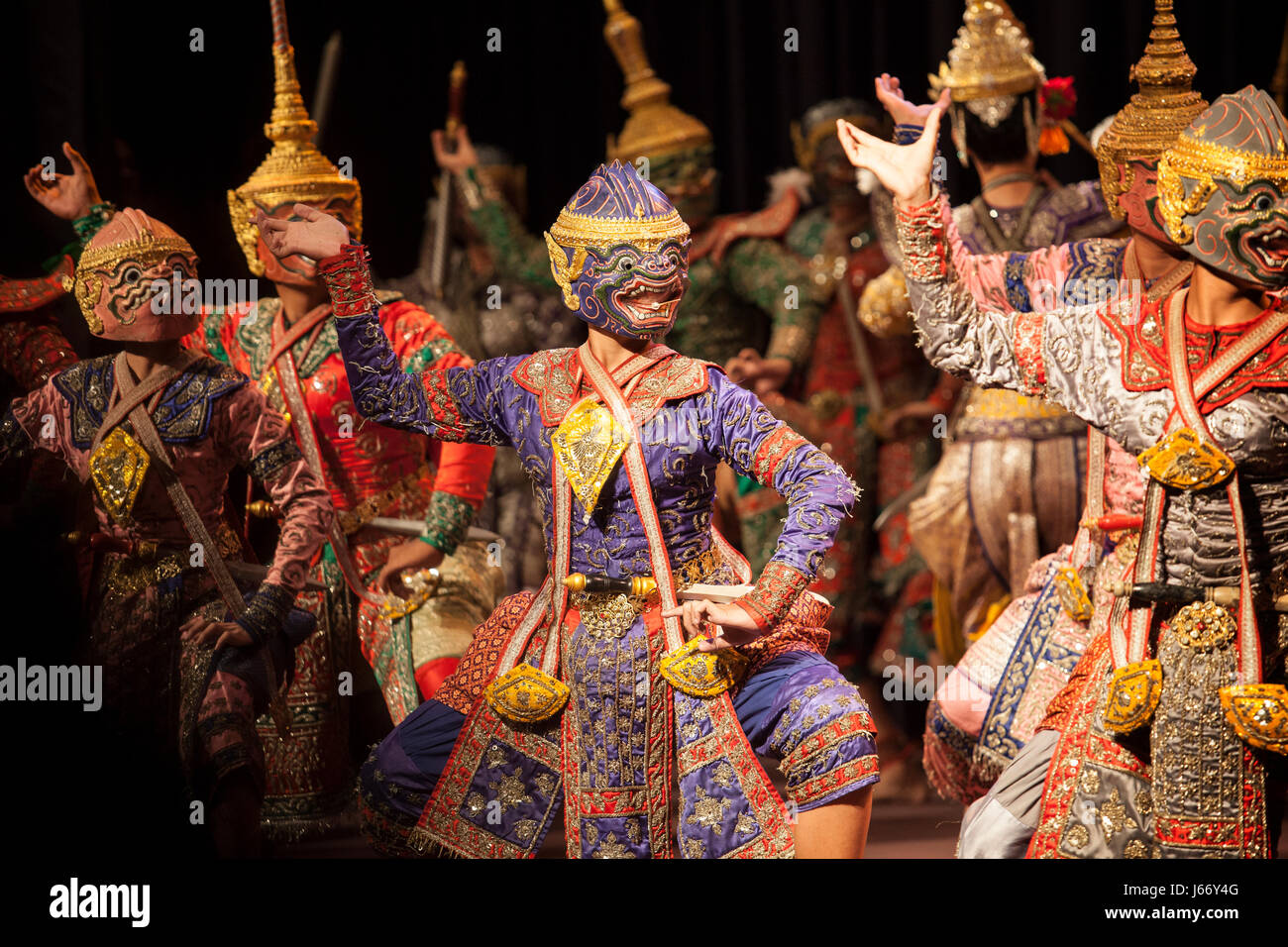 BANGKOK THAILAND - AUGUST 7 hanuman brothers one part of  Praram army force great scene in Khon playing one theme of great thai lliterature Ramayana s Stock Photo