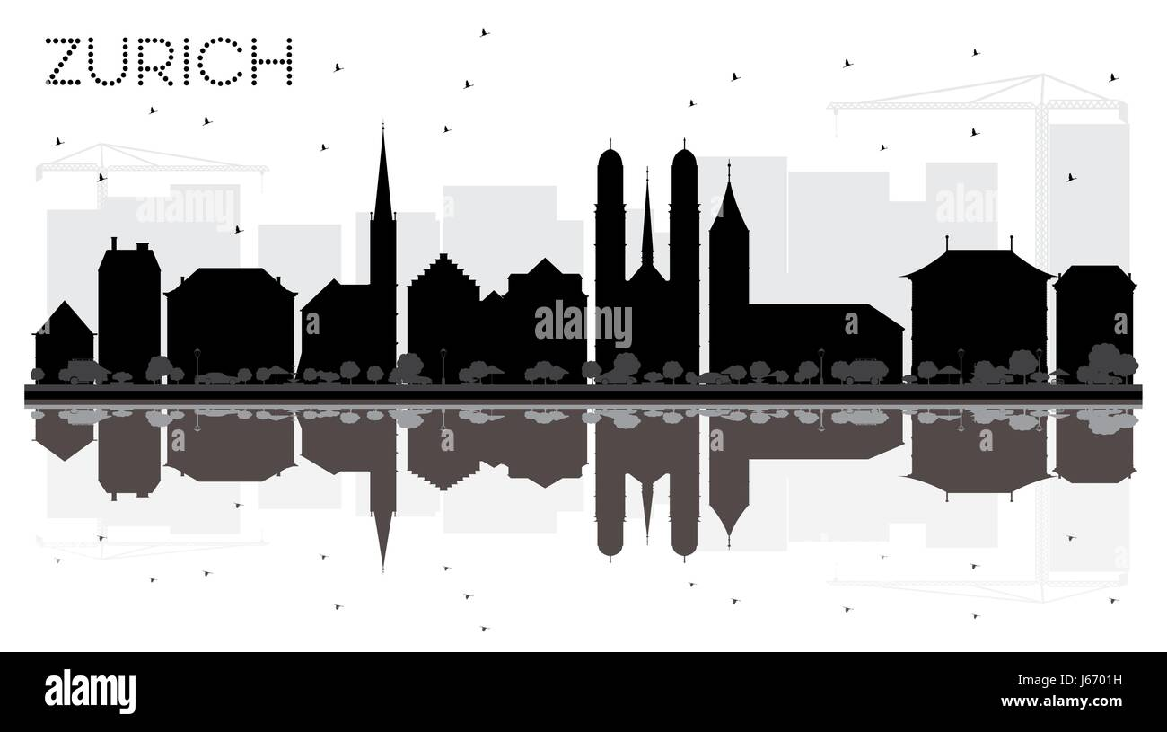 Zurich City skyline black and white silhouette with reflections. Vector illustration. Simple flat concept for tourism - Stock Image