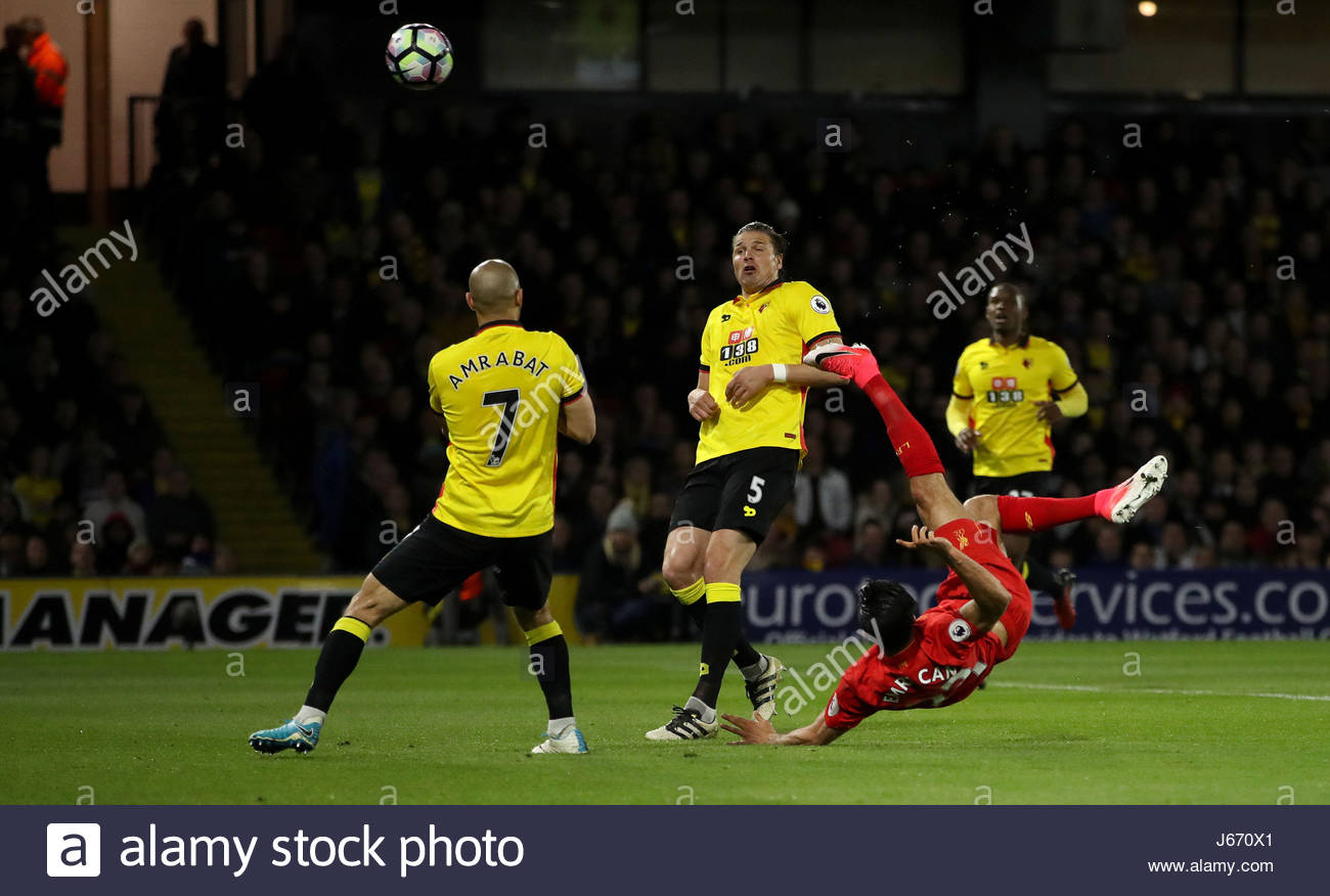 File photo dated 01-05-2017. A stunning overhead kick from Germany international Emre Can earned Liverpool victory - Stock Image