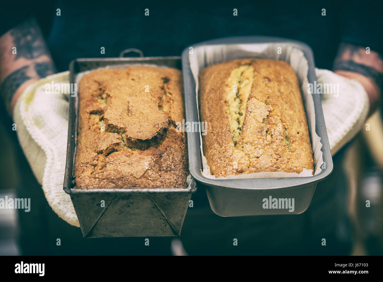 Baked banana cakes of which one is gluten free and the other is a regular bake. Applied vintage filter - Stock Image