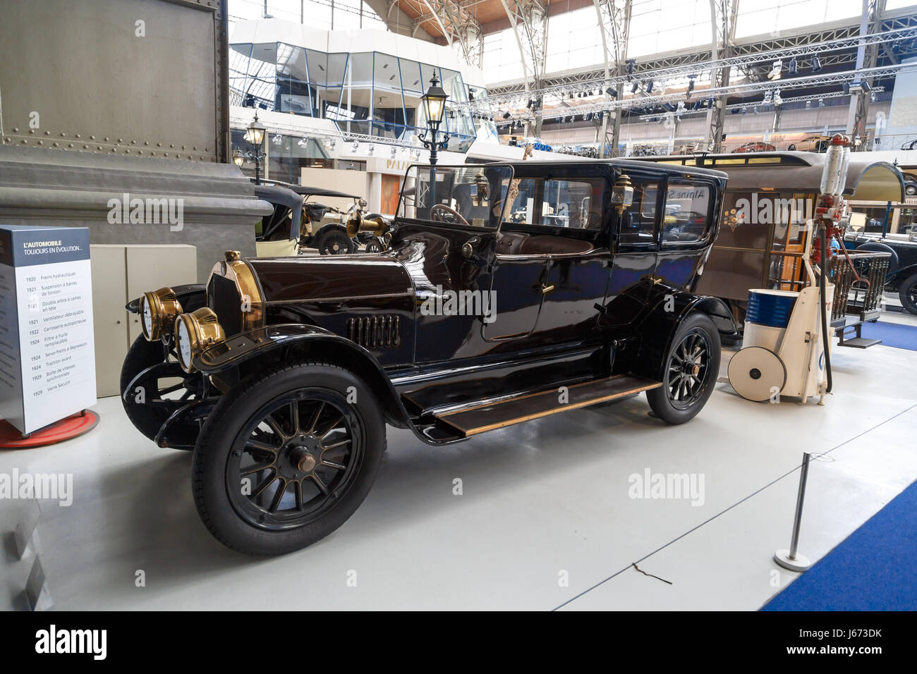 BRUSSELS, BELGIUM - JULY 9, 2016 : Automotive museum with classical automobiles collection exhibition in Cinquantenaire Stock Photo