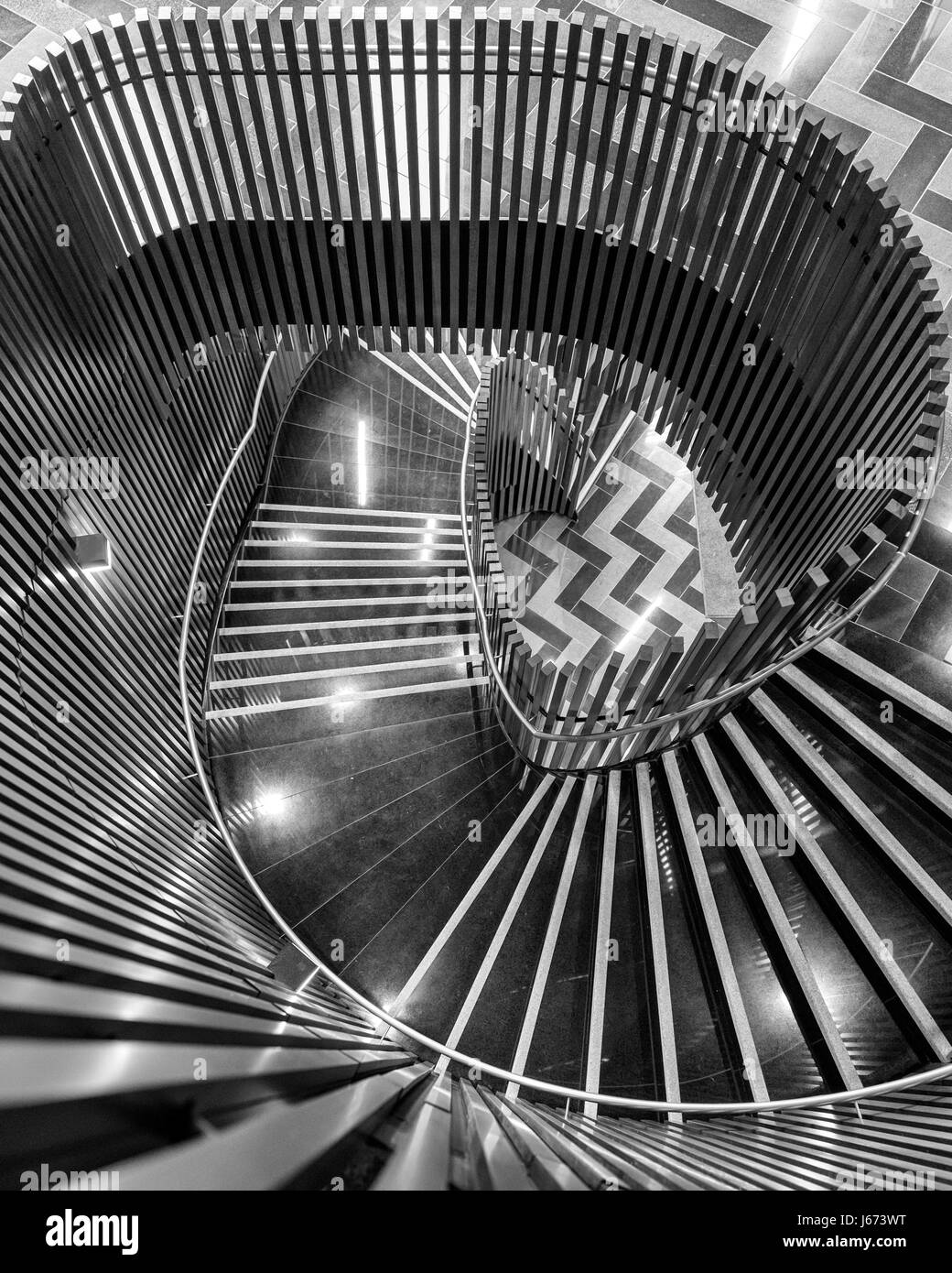 Spiral Staircase, Victoria Gate in Leeds - Stock Image
