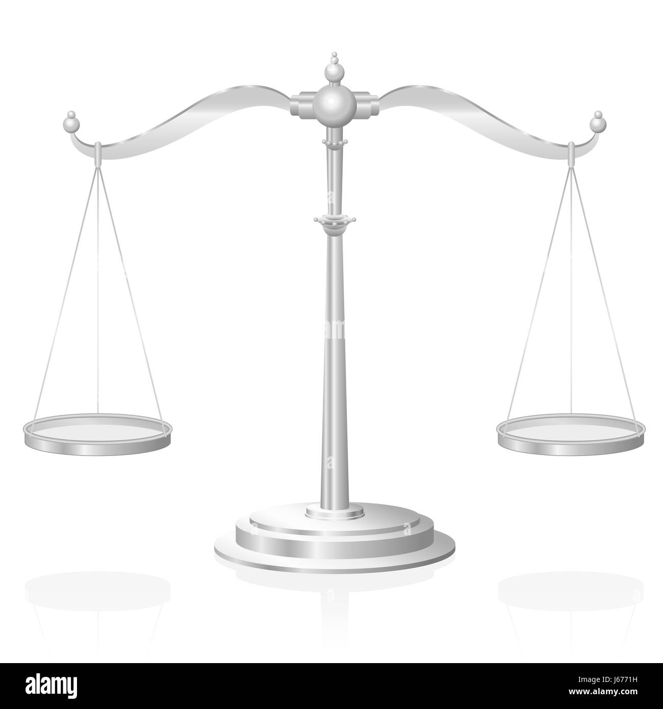 Scale - symbol for justice, jurisdiction, balance and fairness - illustration on white background. - Stock Image