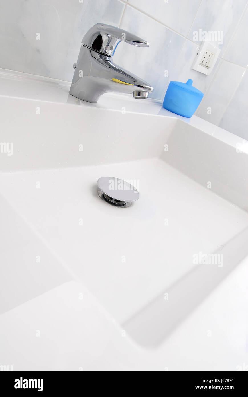 flow ceramic tiles wash basin bathroom flow ceramic tiles sanitary hygiene Stock Photo