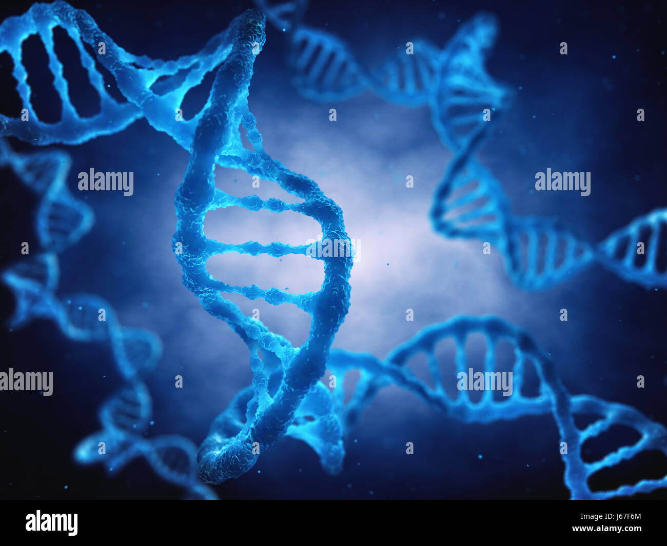 The DNA double helix molecule is the genetic blueprint for life , Molecular genetics - Stock Image