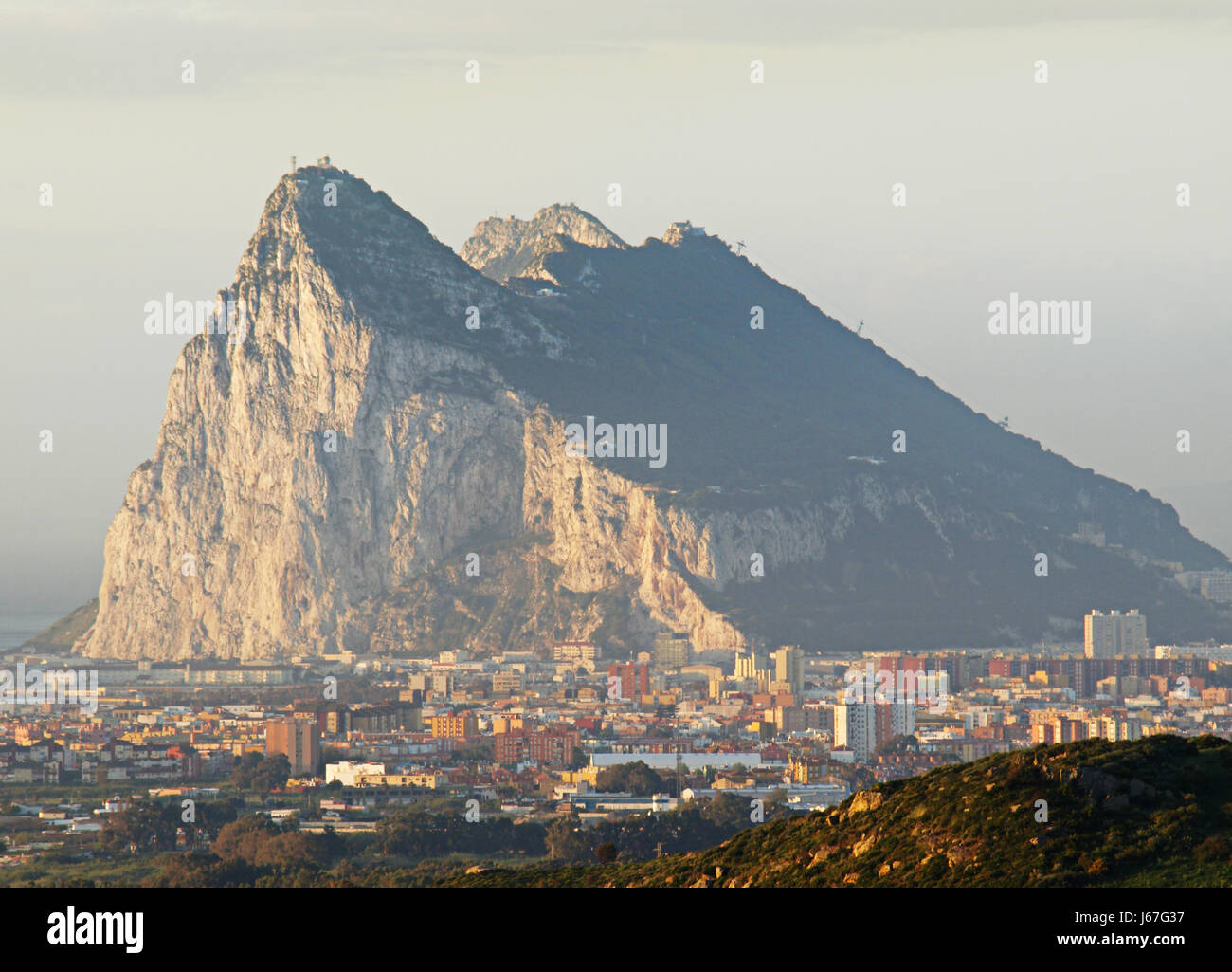 sunrise spain rock colony gibraltar beautiful beauteously nice city town - Stock Image