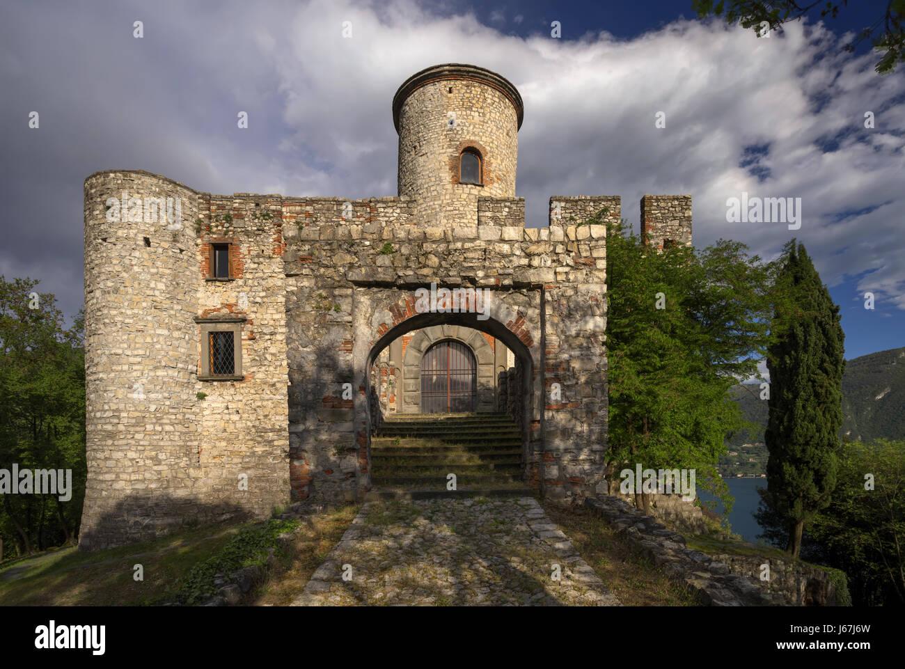 Rocca Martinengo Castle on Monte Isola on Iseo Lake, Italy - Stock Image