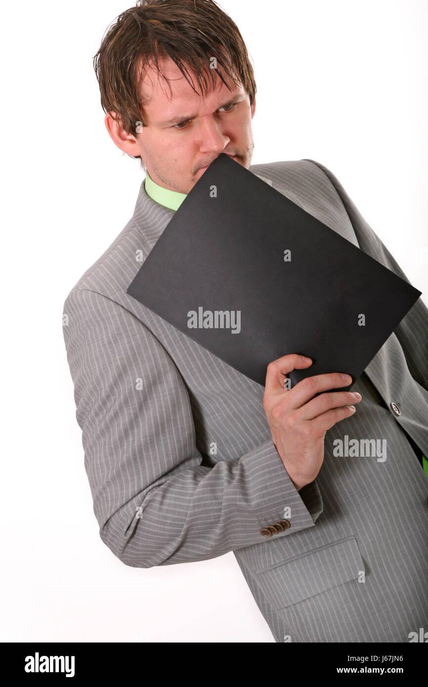 earnest meditate reflexion suit man earnest office note memo application - Stock Image