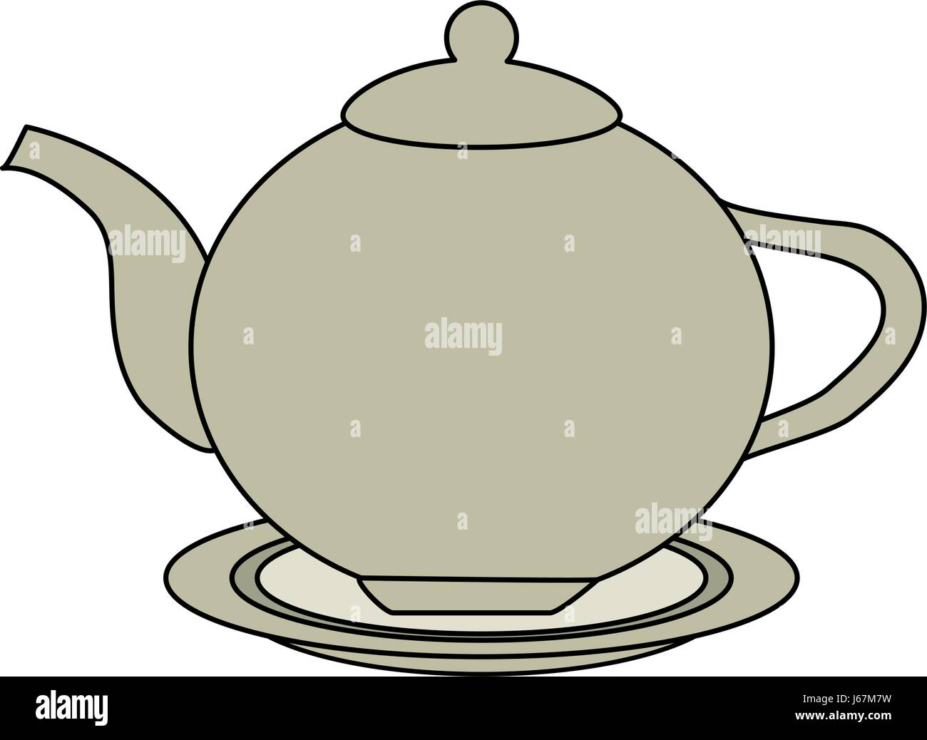 color image cartoon porcelain tea kettle for hot drinks - Stock Vector