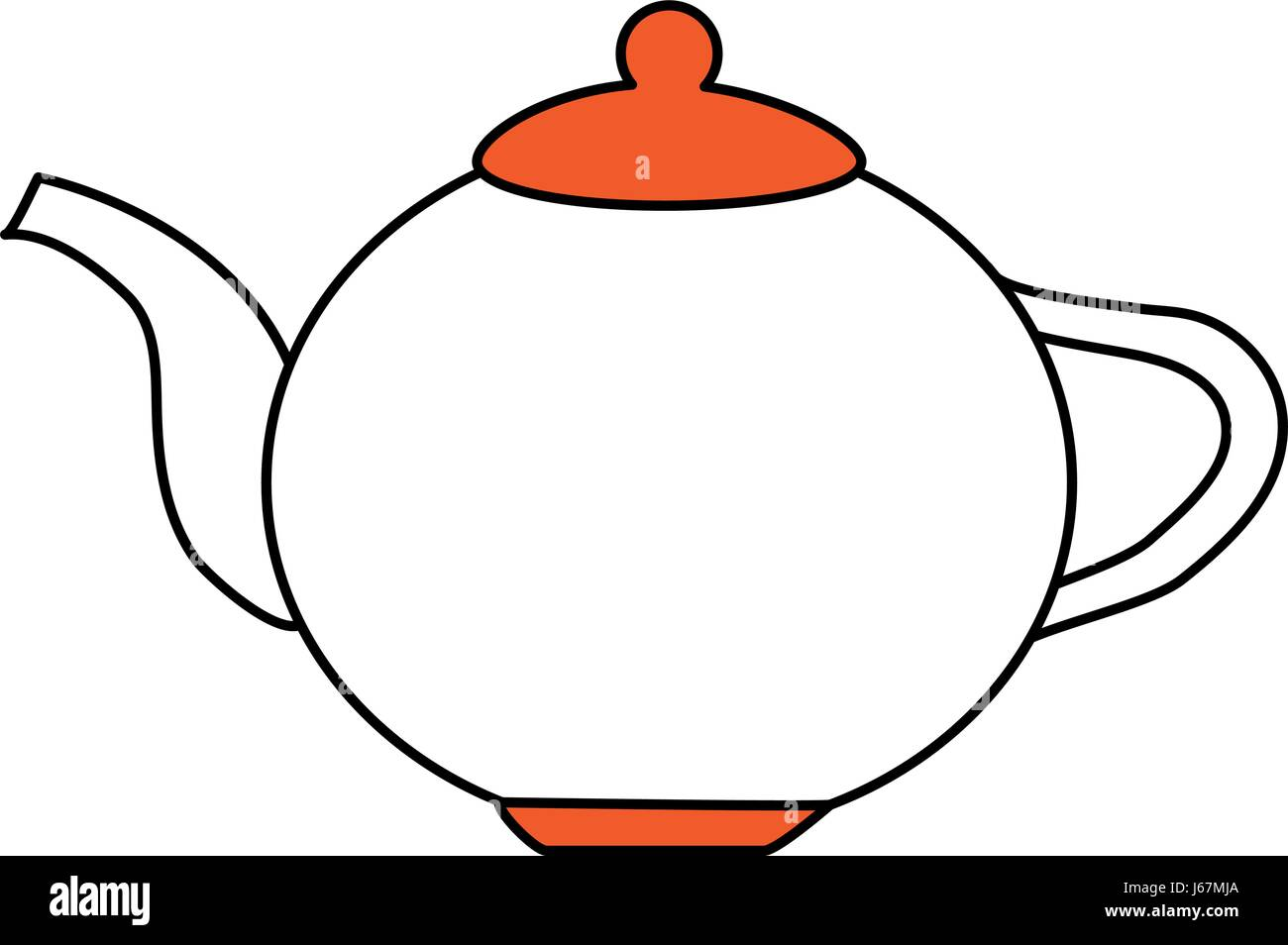 color silhouette image cartoon porcelain tea kettle for hot drinks - Stock Vector