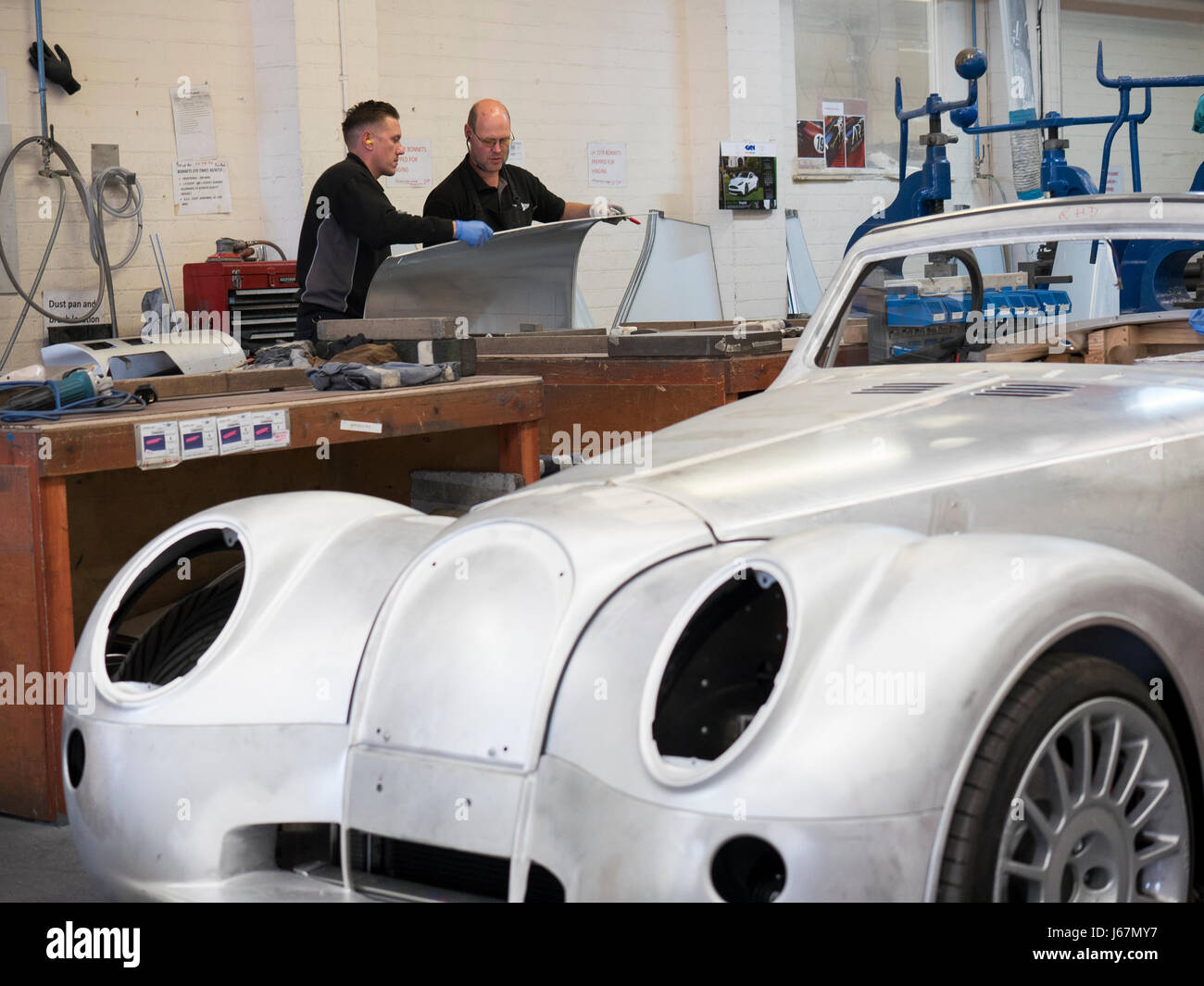 Workers at the Morgan Motor Co. factory in Malvern, England hand build each car to the buyers specifications. Morgans - Stock Image