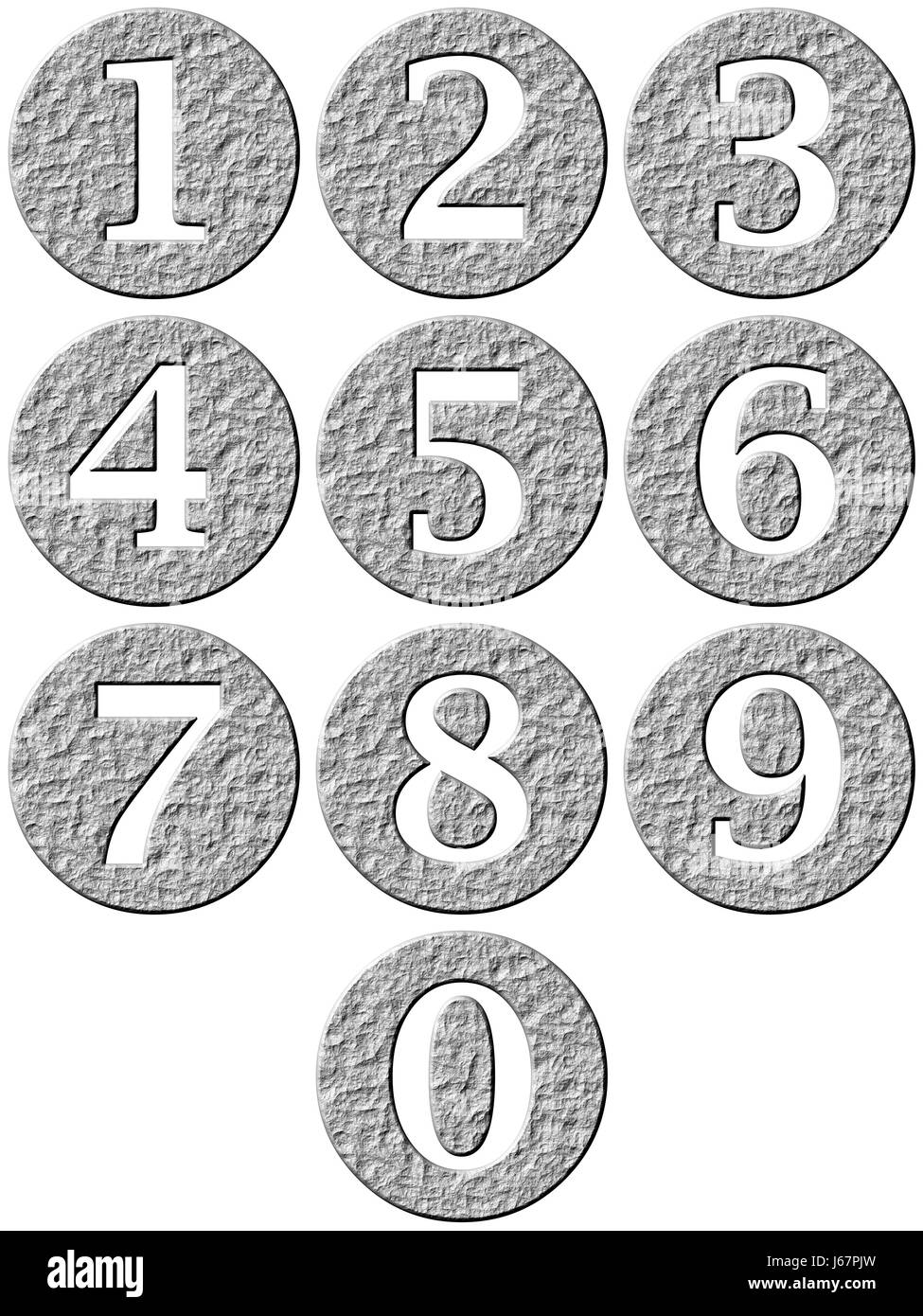 stone graphic rock number sign icon numeral conspicuous pictographic - Stock Image
