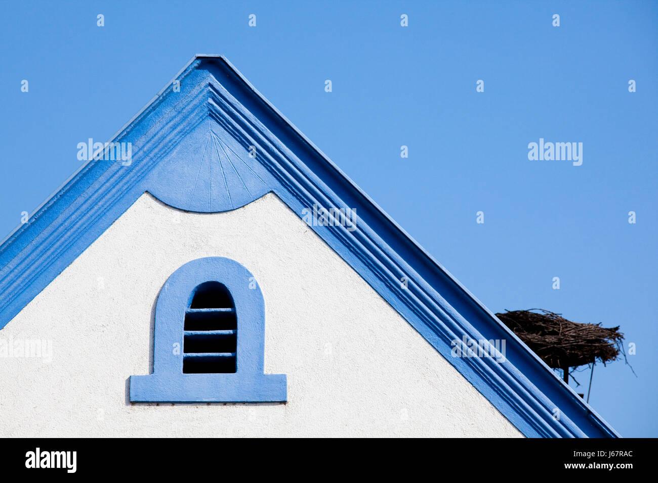 location shot outside blue austrians architekturdetail blau-wei sterreich Stock Photo
