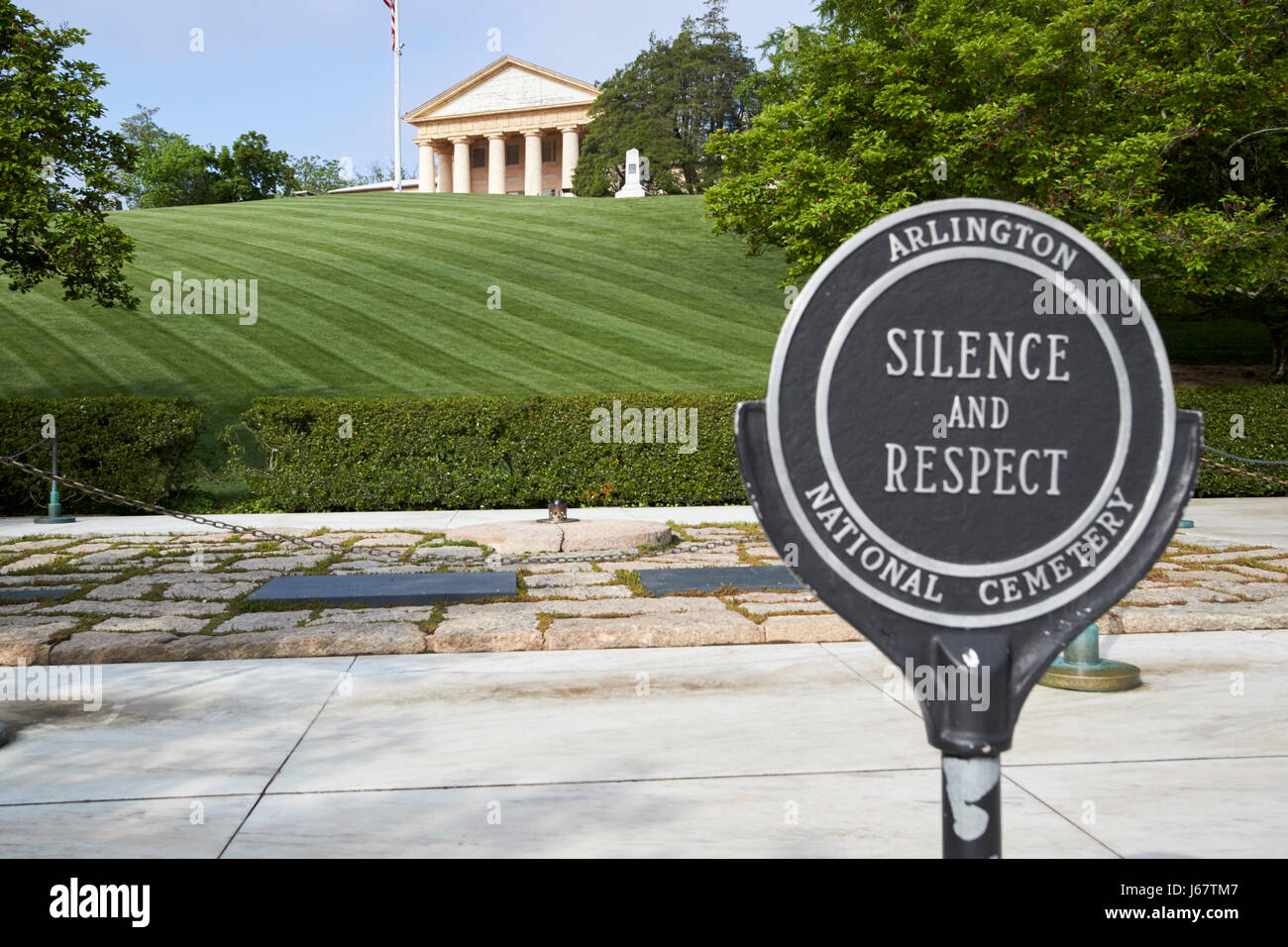 silence and respect sign in front of jfk John F, Kennedy gravesite and arlington house arlington cemetery Washington - Stock Image
