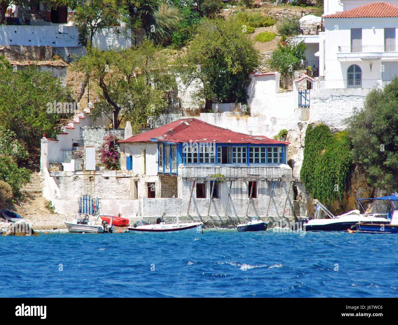 boathouse - skiathos town - Stock Image